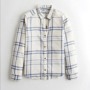 Hollister white plaid flannel shirt
